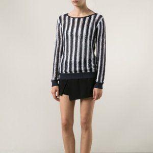 Theory Amena L Open Knit Stripe Sweater L